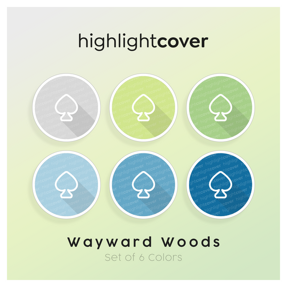 Instagram Highlight Cover Pik / Spade In 6 verschiedenen Wayward Woods Farben