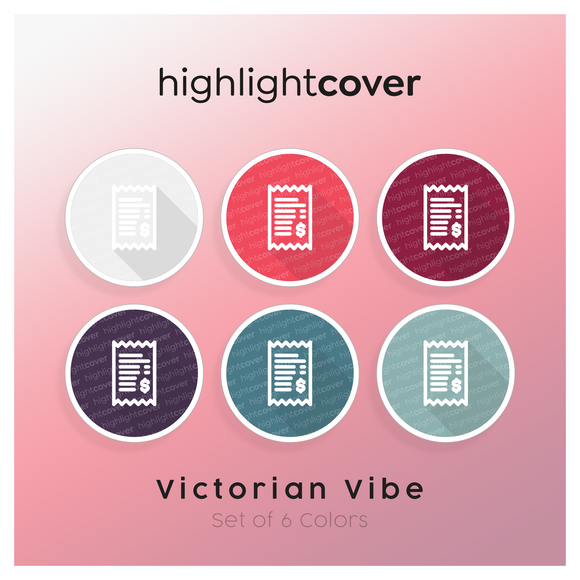 Instagram Highlight Cover Quittung / Receipt In 6 verschiedenen Victorian Vibe Farben