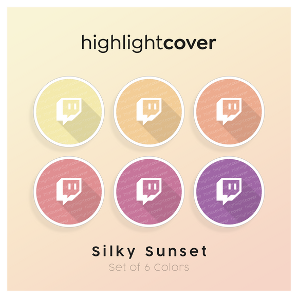 Instagram Highlight Cover Twitch In 6 verschiedenen Silky Sunset Farben