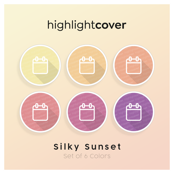 Instagram Highlight Cover Kalender / Calendar In 6 verschiedenen Silky Sunset Farben