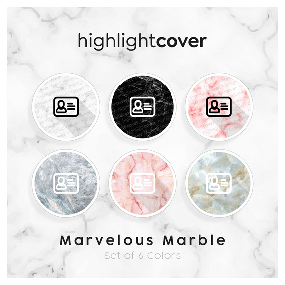 Instagram Highlight Cover Adresskartei / Address-card In 6 verschiedenen Marvelous Marble Farben