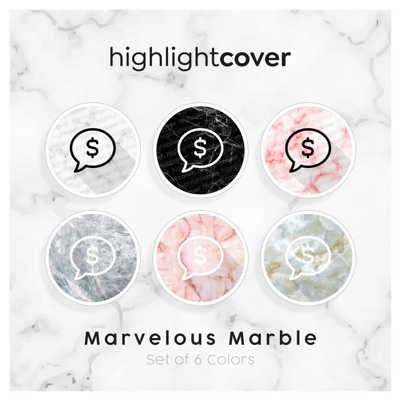 Instagram Highlight Cover Kommentar-dollar / Comment-dollar In 6 verschiedenen Marvelous Marble Farben