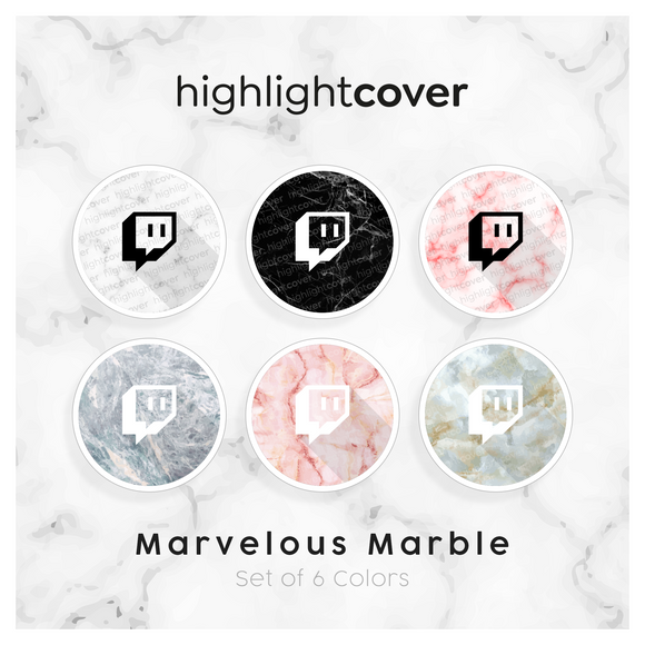 Instagram Highlight Cover Twitch In 6 verschiedenen Marvelous Marble Farben