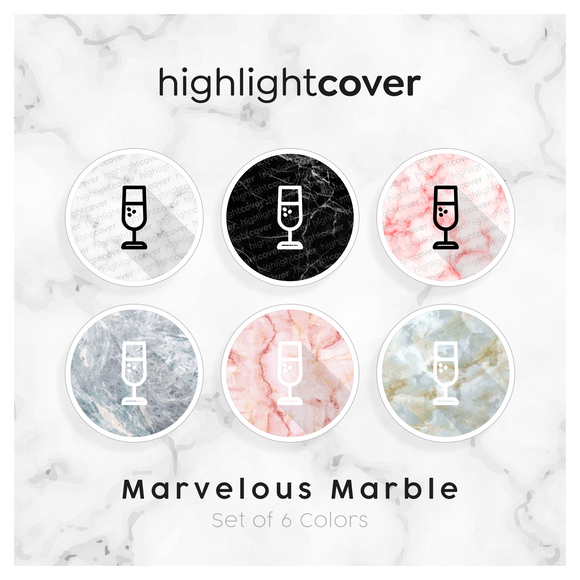 Instagram Highlight Cover Glas-champagner / Glass-champagne In 6 verschiedenen Marvelous Marble Farben