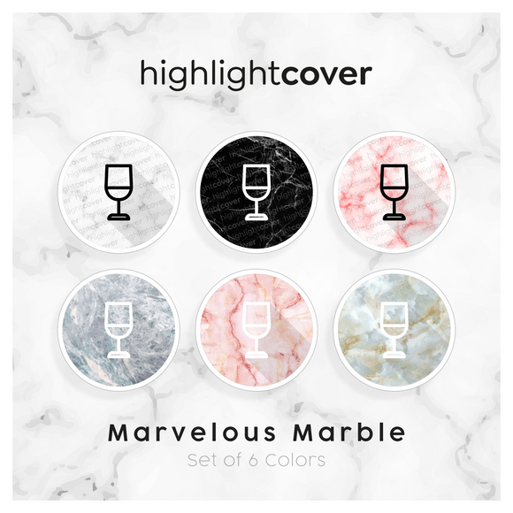 Instagram Highlight Cover Weinglas / Wine-glass In 6 verschiedenen Marvelous Marble Farben