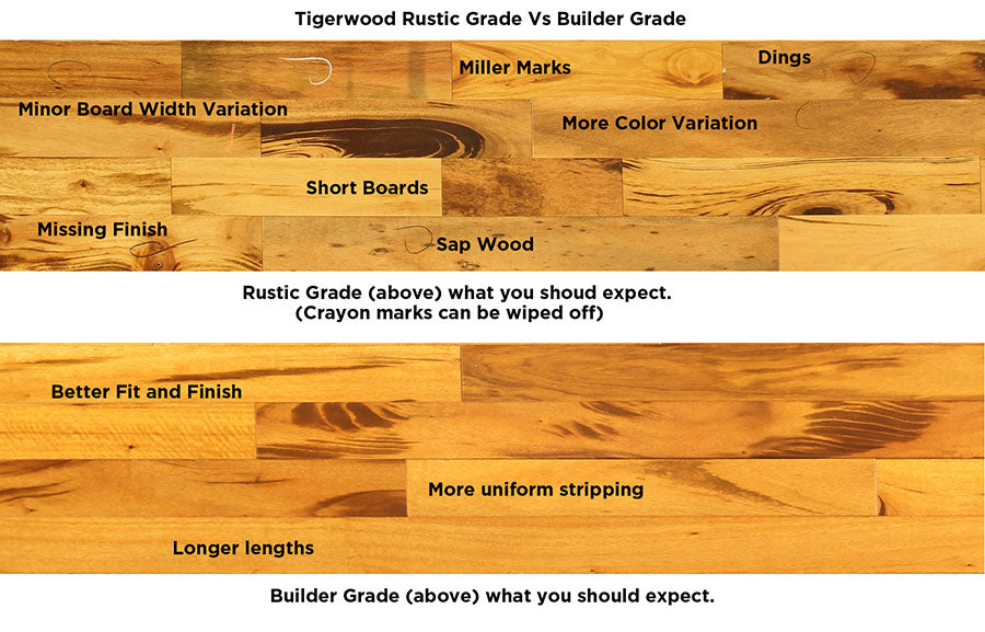 Tigerwood Hardwood Flooring Rustic vs Builder