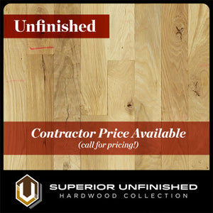 "4"" x 3/4"" White Oak  #2 Common Unfinished Hardwood Flooring"