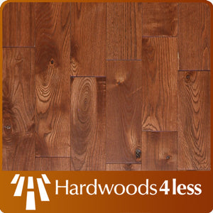 "5"" x 3/4"" Rustic Grade Ash Hardwood Flooring with Gunstock Finish"