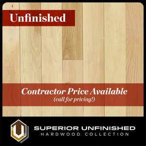 "7"" x 3/4"" Unfinished Hickory Hardwood Flooring Character Grade"