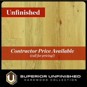 "8"" x 3/4"" White Oak  #1 Common Unfinished Hardwood Flooring"