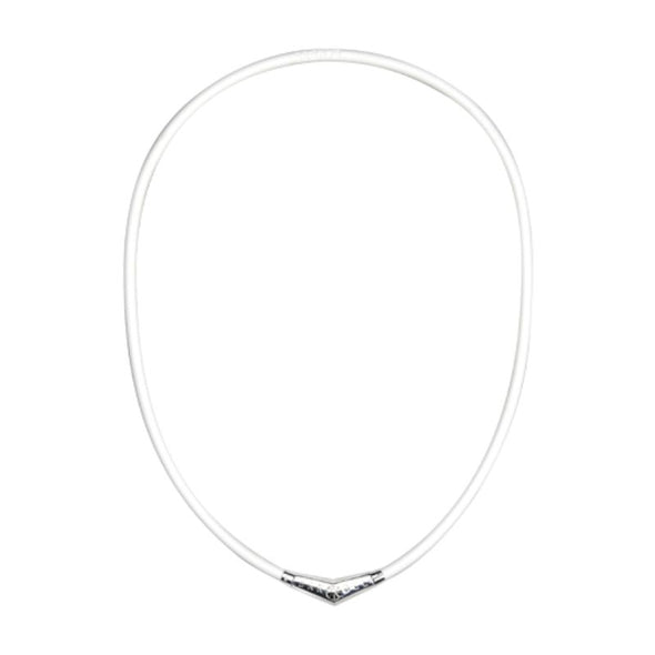 Titanium Rubber Necklace White×Silver