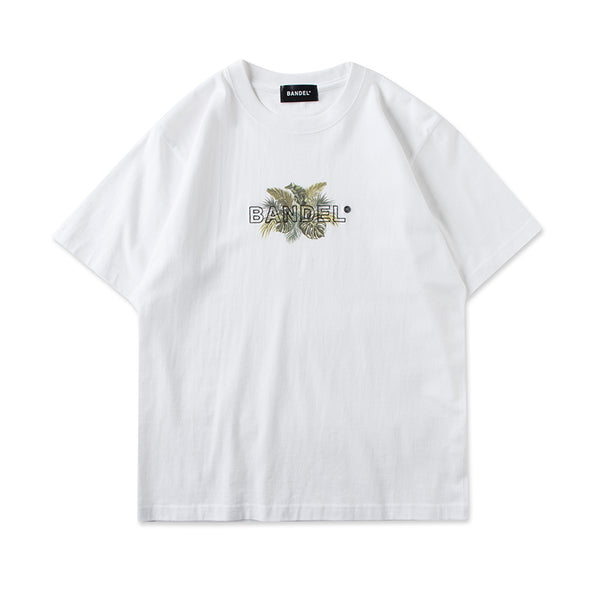 Short Sleeve T Botanical Enbroidery Logo White