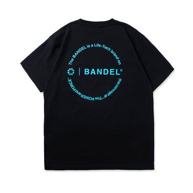 Circle-Logo Short Sleeve T Black×Neon Blue