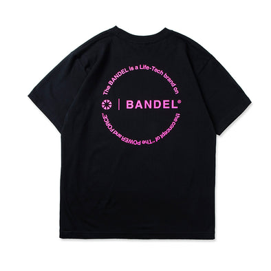 Circle-Logo Short Sleeve T Black×Neon Pink