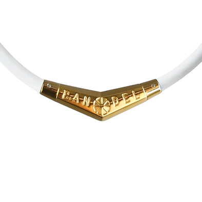 Titanium Rubber Necklace White×Gold