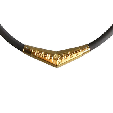 Titanium Rubber Necklace Black×Gold