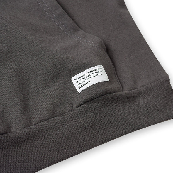 Hoodie Woven Label Charcoal Grey