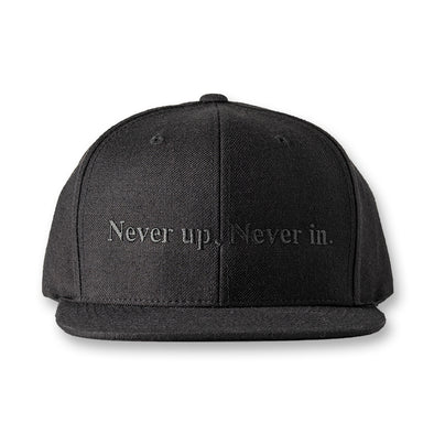 FLAT VISOR GOLF CAP Never up,Never in Black×Black