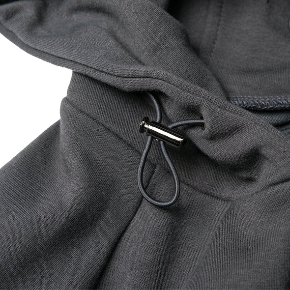 Zip Hoodie Sleeve Woven Label Charcoal Grey