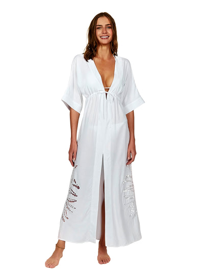 Vix: Off White Embroidery Pamela Caftan (529-407-003)