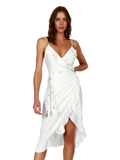 Vix: Off White Leone Short Dress (321-407-003)