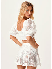 For Love and Lemons: Crochet Daisy Crop-Crochet Daisy Skater Skirt  Cover Up  SWMCT1058-SP20-SWMCS1059-SP20