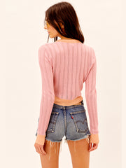 For Love and Lemons: Phoebe Pointelle Cardigan (KSP21C106)