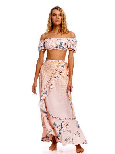 Agua Bendita: Michelle Top-Brasil Skirt (7146-ROSE-7147-ROSE)