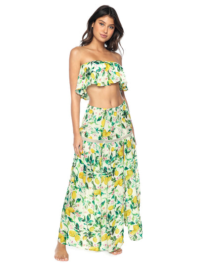 PQ Swim: Mila Off Shoulder-Mila Skirt  Cover Up  LMN-1044T-LMN-1045S