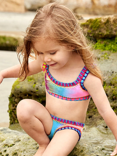 Sporty Rainbow Embroidered Bikini