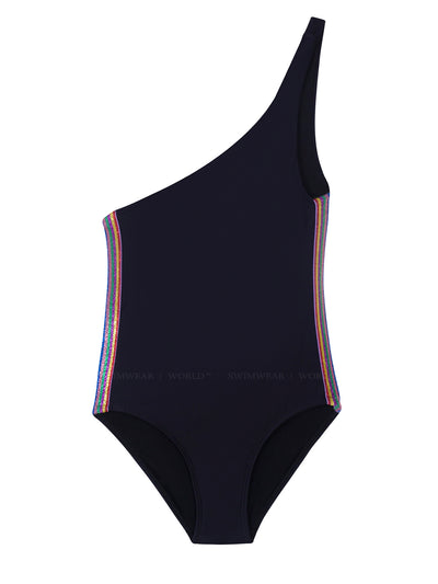 Rainbow Elastic One-Shoulder One-Piece