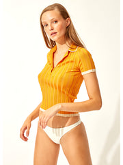 The Rib Polo Shirt Marigold
