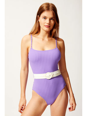 Solid and Striped: The Nina Belted Violet Rib (S014-4444SU1)