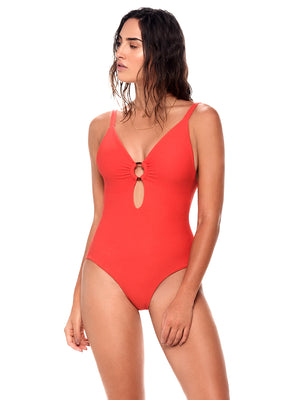 Textured Morocco Red Savanna One-Piece