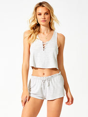 Beach Bunny: Cameron Crop Tank-Cameron Short  Cover Up  L1203T1-GRCM-L1203B6-GRCM