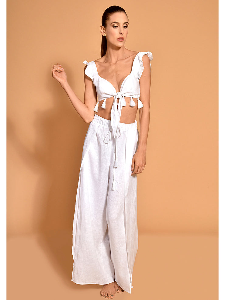 Encantadore: Wuayra Crop-Wuayra Pants  Cover Up  T850-WHT-P851-WHT