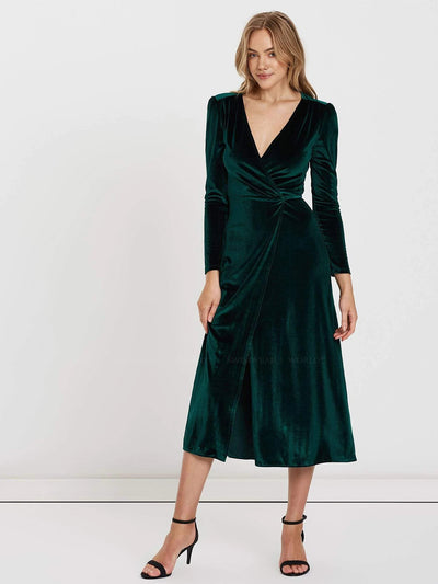 Charlie Holiday: Izzy Velvet Wrap Maxi Dress (VIE6003-EMER)