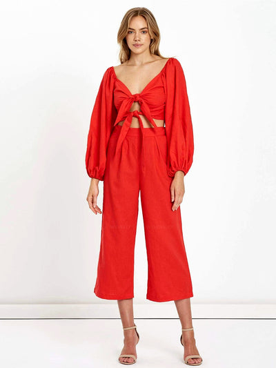 Charlie Holiday: Elle Linen Pant (VIE5004-RED)