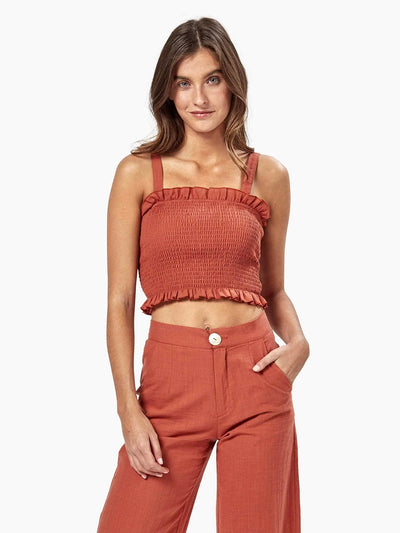 Charlie Holiday: Cha Cha Cropped Top (MEW7002-RUST)