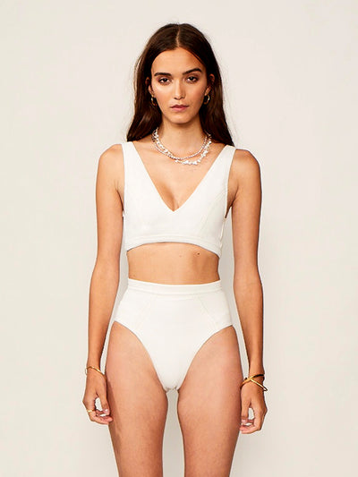 Suboo: Kaia V Neck-Kaia Panelled High Waisted (SBSW716SS20-IVRY-SBSW717SS20-IVRY)