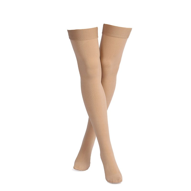 Skin Color Anti Skid Compression Thigh Stocking Prevent Varicose Vein Socks Pain Relief Close Toe