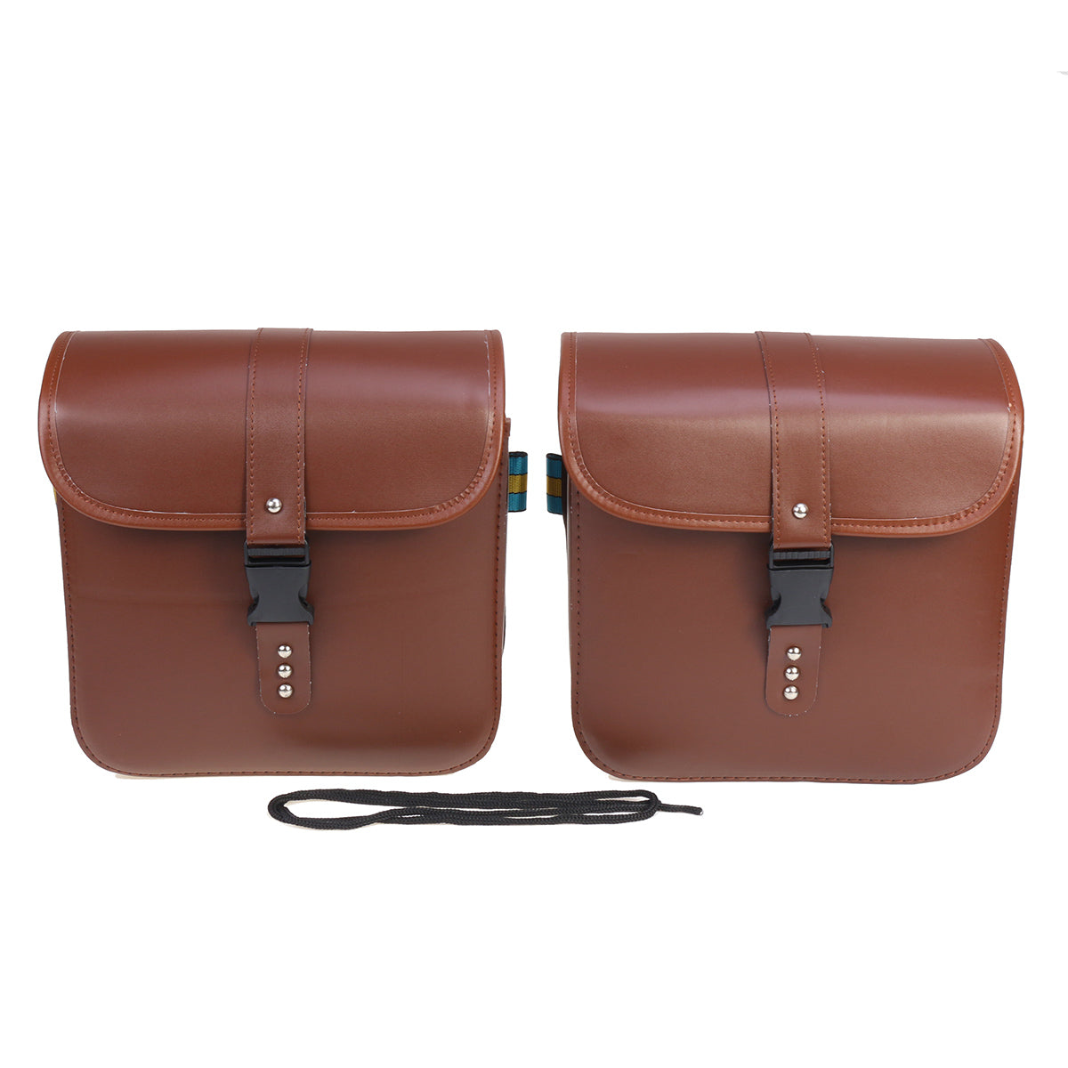 Motorcycle Saddlebags Bags Bike Side Storage Fork Tool Pouch Universal Brown