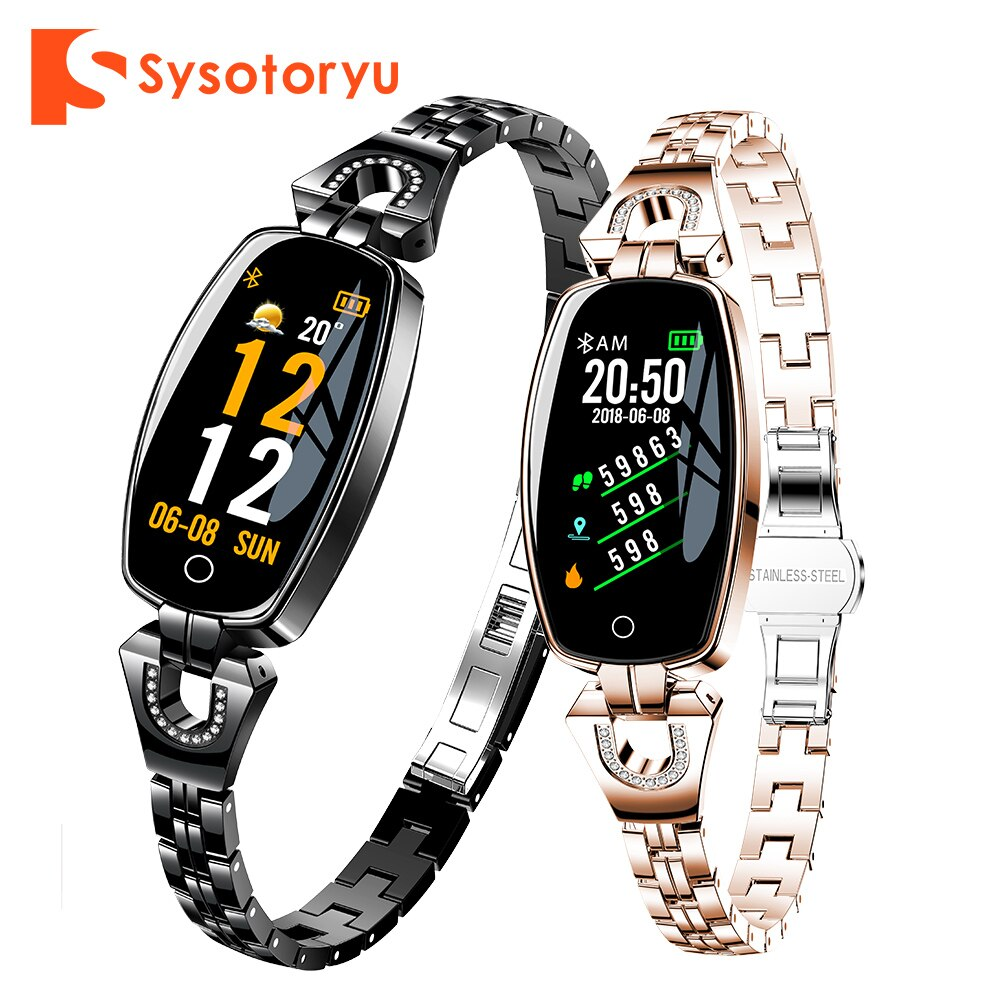 SYSOTORYU H8 Women Watch Fashion Bluetooth Fitness Bracelet H8 Heart Rate Blood Pressure Lady Smartwatch for IOS Android Phone