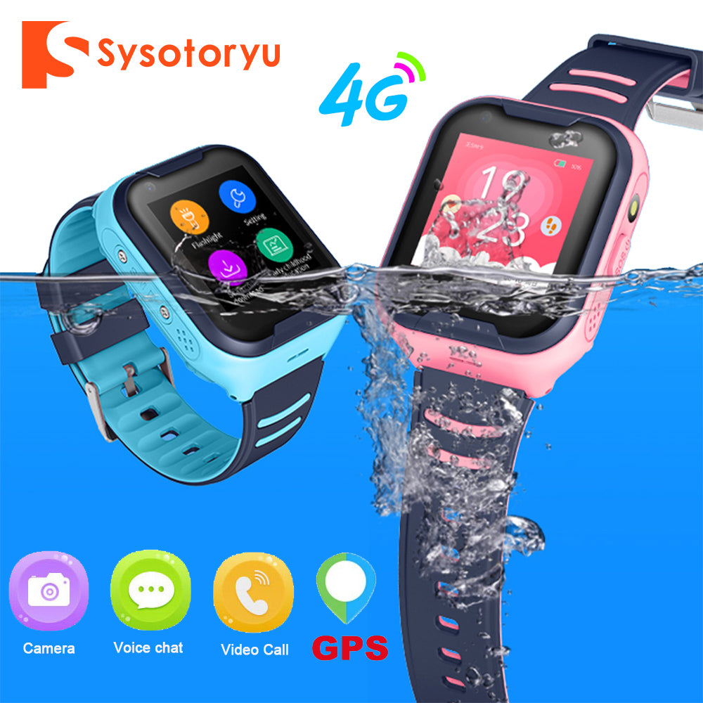 SYSOTORYU 4G Baby Smart Watch IP67 Waterproof GPS WIFI Kids watch SOS Video Call Children Smartwatch with Camera 680mAh Battery