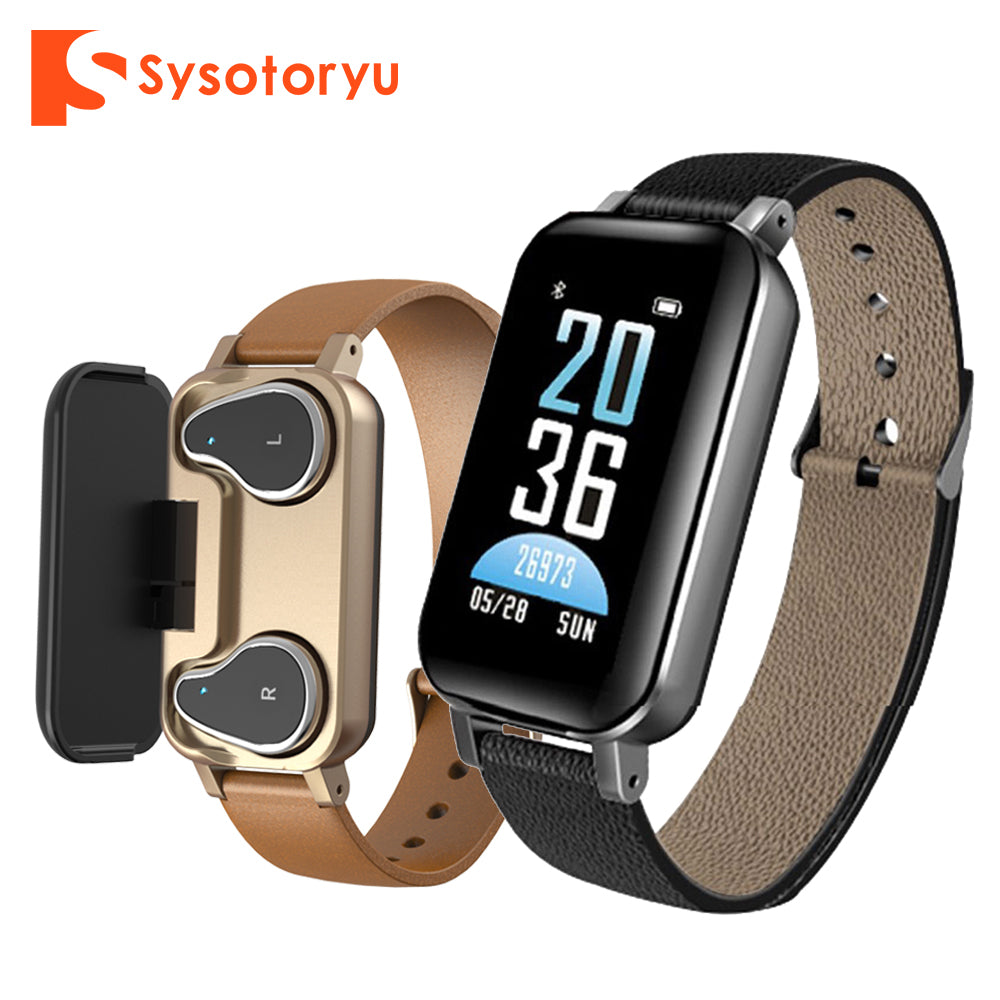 SYSOTORYU 2 In 1 Bluetooth Earphone Smart Watch Heart Rate Sport Fitness Bracelet Men Women Smartwatch for IOS Android Phone