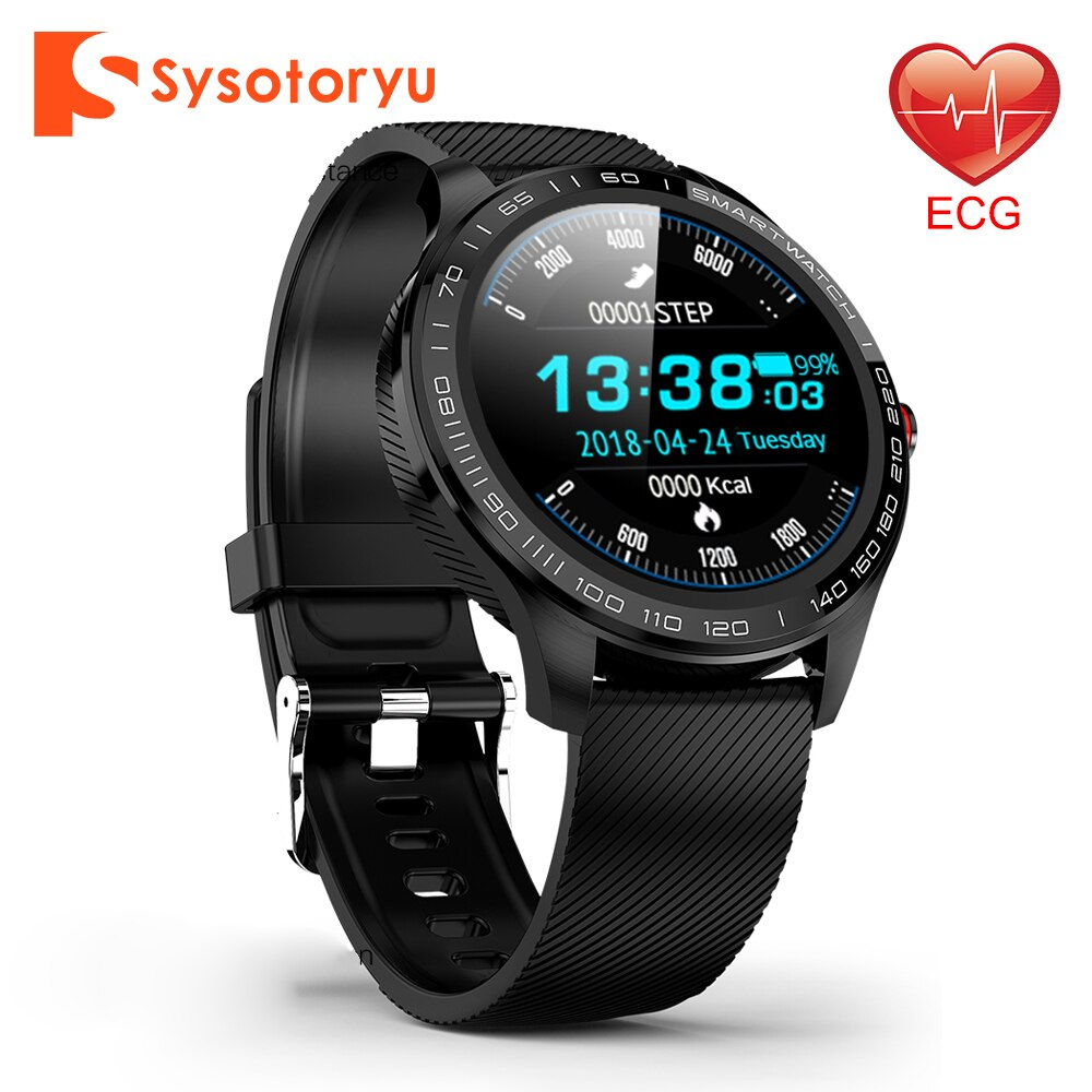 SYSOTORYU Smart Watch PPG + ECG heart rate blood pressure monitor leather metal smartwatch for huawei Xiaomi Android IOS Phone