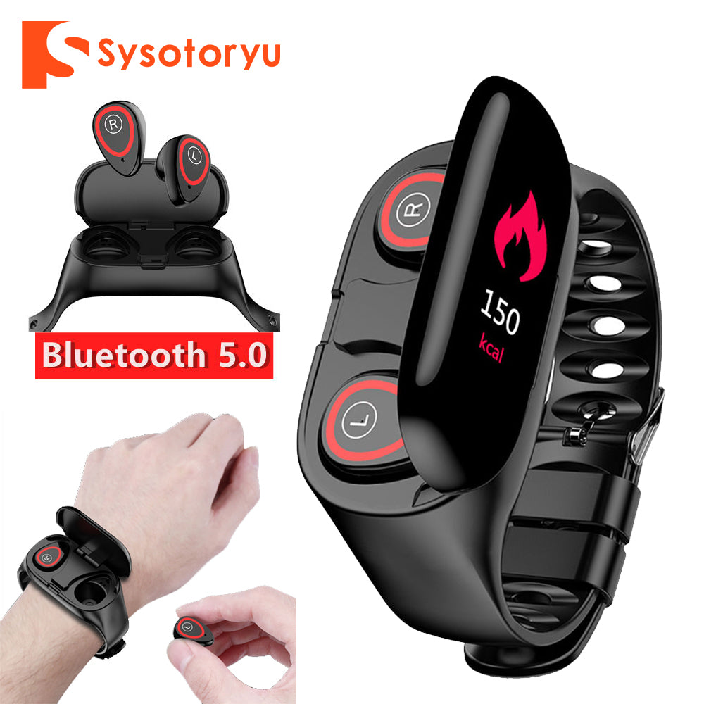SYSOTORYU M1 Smart Watch Heart Rate Monitor Bluetooth Earphone Fitness Tracker Blood Pressure Smartwatch for IOS Android Phone
