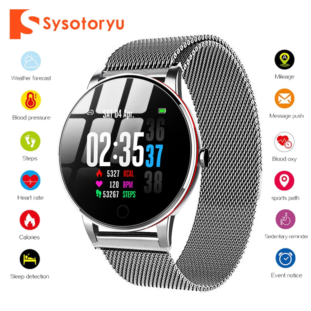 SYSOTORYU Y9 Slim Smart Watch Heart Rate Blood Pressure Monitor Smartwatch Men Women with Milanese Strap for IOS Android Phone