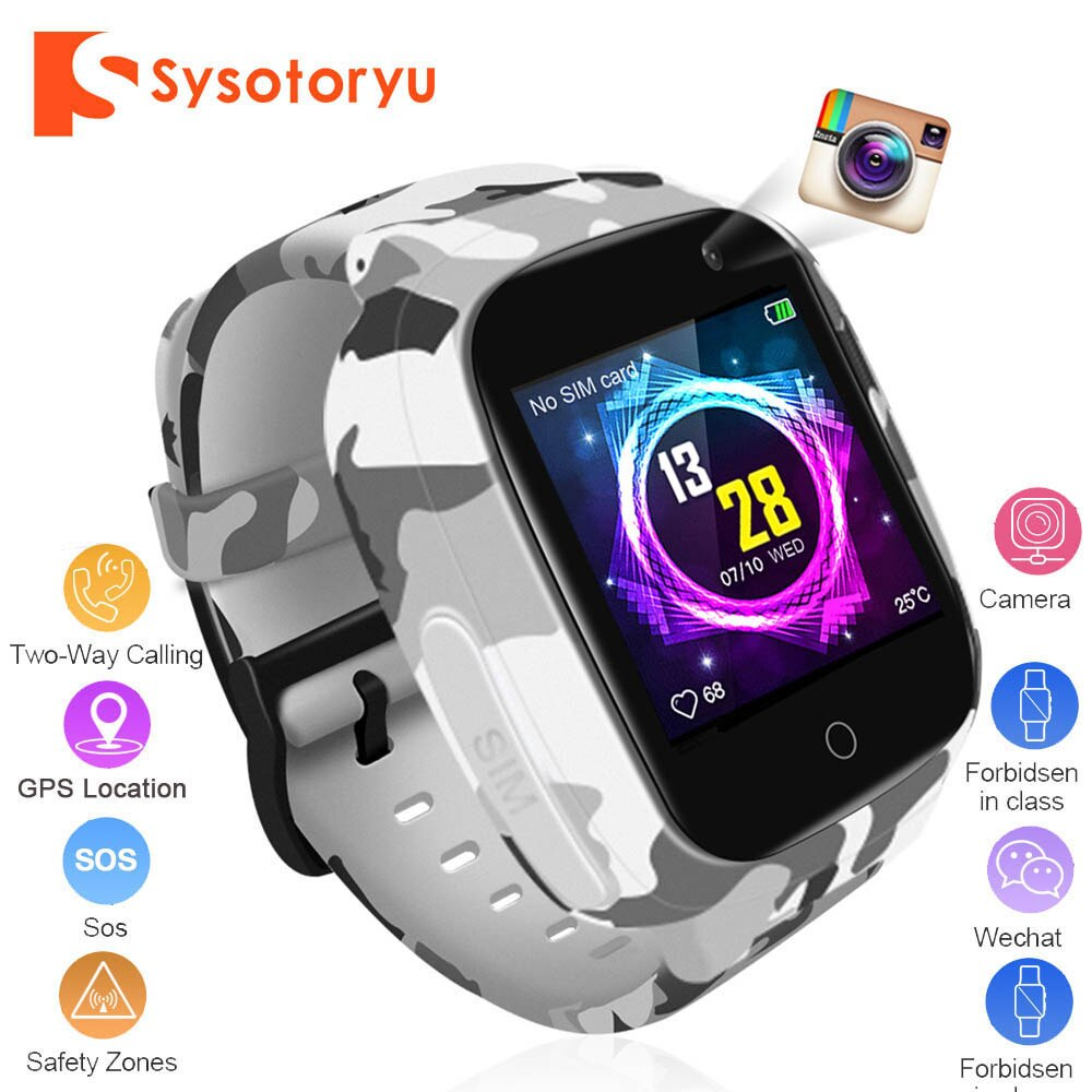 SYSOTORYU GPS Baby Smart Watch SIM Card Kids Watches WIFI SOS Dial Call Voice Chat Long Standby Time with Camera Children Clock