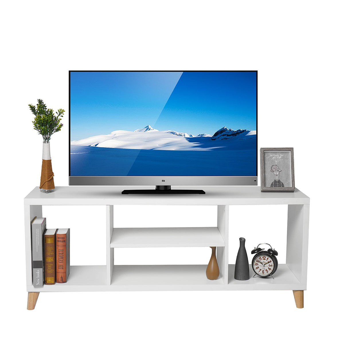 Simple Modern TV Cabinet TV Stand Bookshelf Files Books Storage Shelves with 4 Open Layers for Living Room Bedroom Study Office